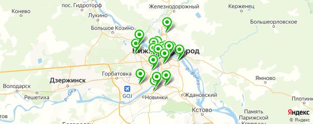 кафе с живой музыкой на карте Нижнего Новгорода