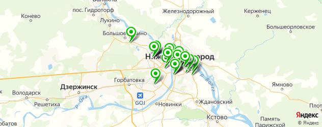 Спорт и фитнес на карте Нижнего Новгорода