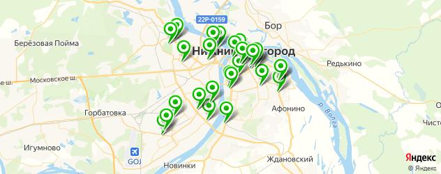 тренажерные залы на карте Нижнего Новгорода