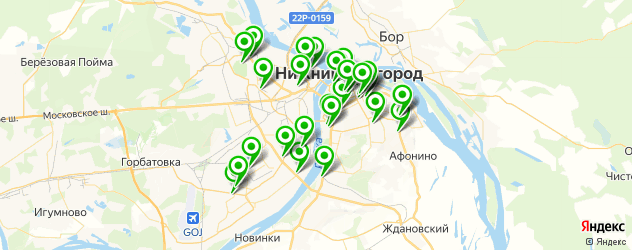 фитнес-клубы на карте Нижнего Новгорода