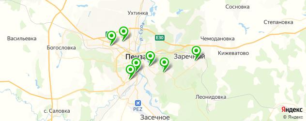 теннисные корты на карте Пензы