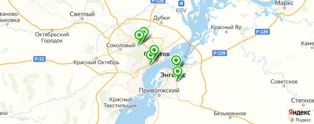 теннисные корты на карте Саратова
