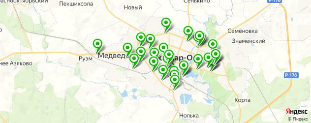 автомойки на карте Йошкар-Олы