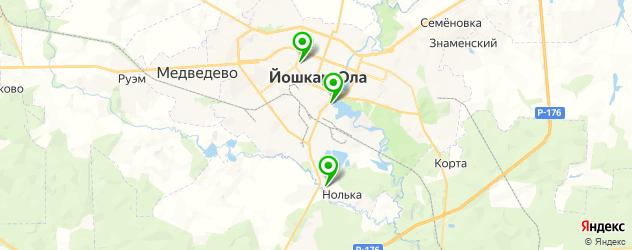 теннисные корты на карте Йошкар-Олы
