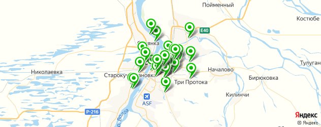 детские сады на карте Астрахани