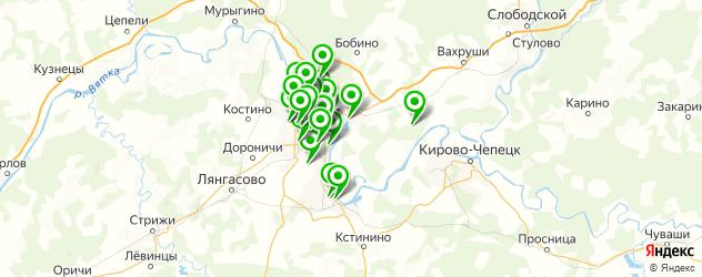 бани на карте Кирова