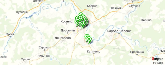 столовые на карте Кирова