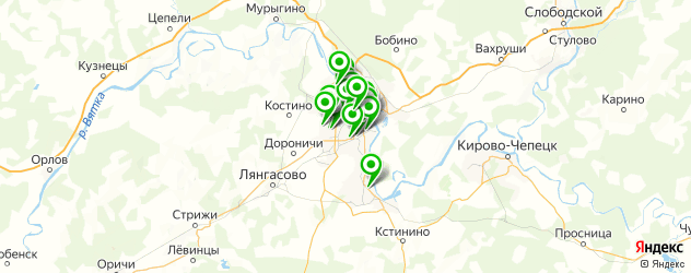 Спорт и фитнес на карте Кирова