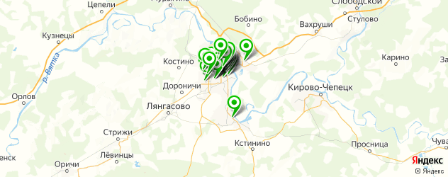 пиццерии на карте Кирова