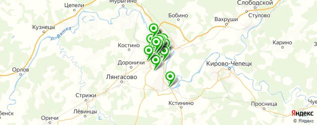 спортивные клубы на карте Кирова