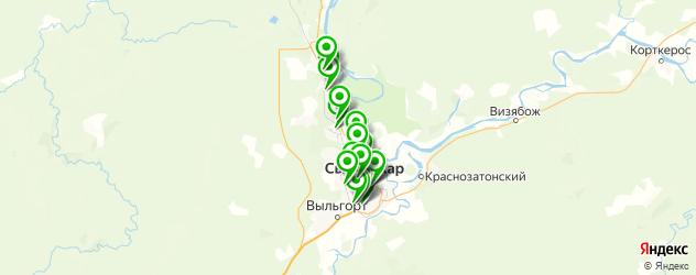 автостоянки на карте Сыктывкара