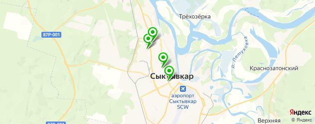 рестораны с детской комнатой на карте Сыктывкара