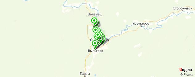 шиномонтажи на карте Сыктывкара