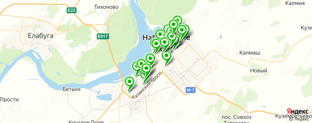 тренажерные залы на карте Набережных Челнов