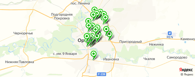 пиццерии на карте Оренбурга