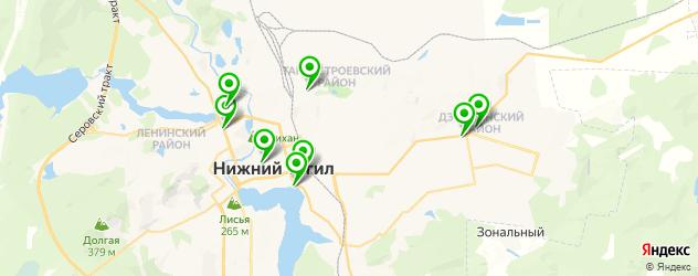 спортивные клубы на карте Нижнего Тагила