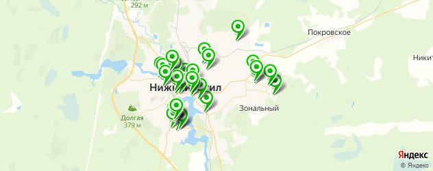 тренажерные залы на карте Нижнего Тагила