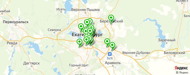 велнесы-клубы на карте Екатеринбурга