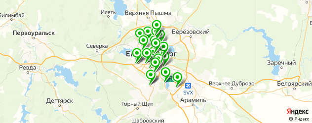 автомойки на карте Екатеринбурга