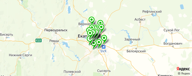 бассейны на карте Екатеринбурга
