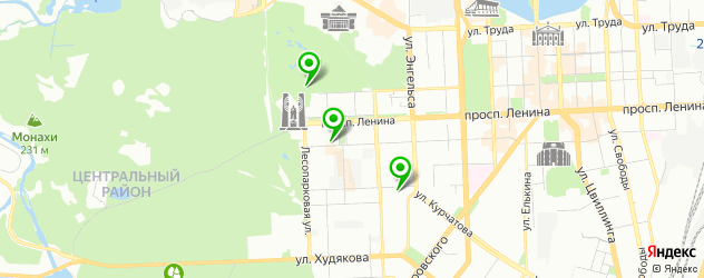 теннисные корты на карте Челябинска