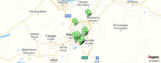 букмекерские конторы на карте Караганды