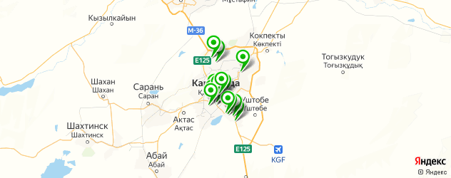 вегетарианские кафе на карте Караганды