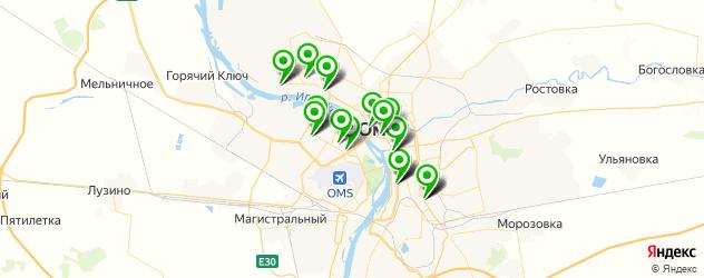 букмекерские конторы на карте Омска