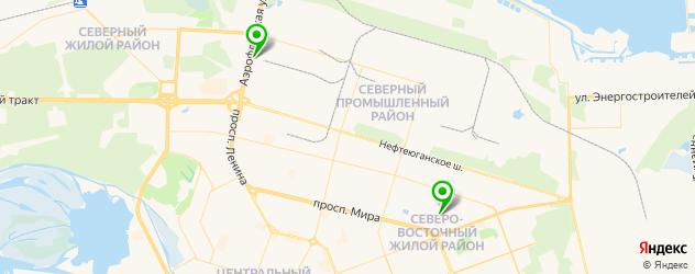 спортивные клубы на карте Сургута