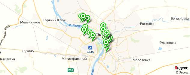 Доставка пиццы на карте Омска