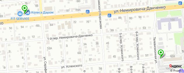 балансировка колес на карте 1-го переулка Немировича-Данченко