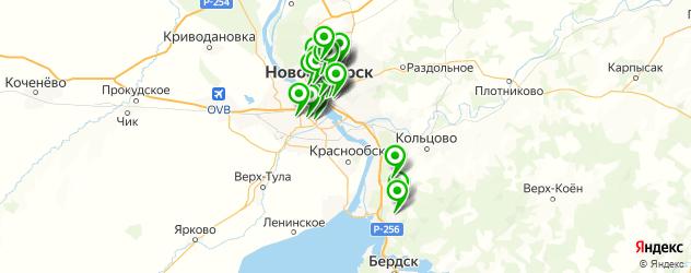 столовые на карте Новосибирска