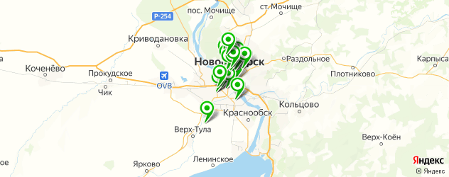 театры на карте Новосибирска
