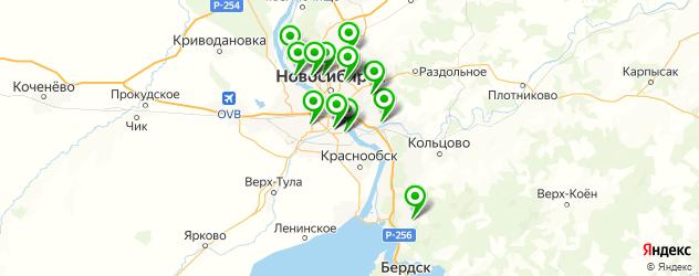 лыжные базы на карте Новосибирска