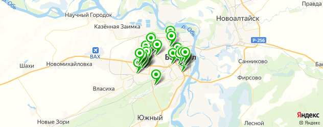 тренажерные залы на карте Барнаула