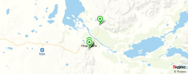спортивные клубы на карте Норильска