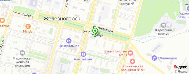 кинотеатры на карте Железногорска