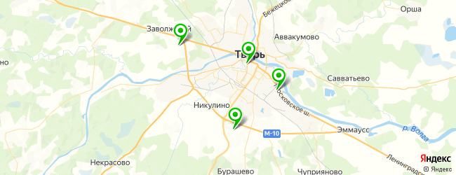 кладбища на карте Твери