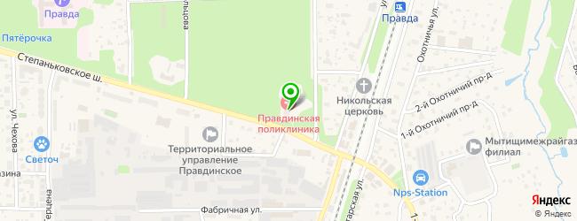 детские поликлиники на карте Правдинского