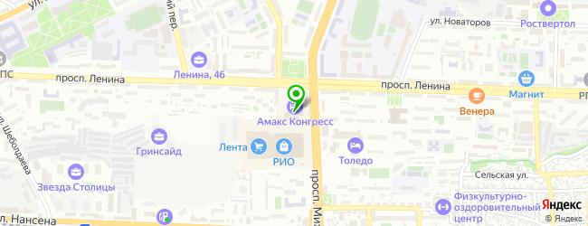 Конгресс-отель Амакс — схема проезда на карте
