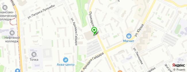 Центр мойки, шиномонтажа и хранения колес Пушка — схема проезда на карте