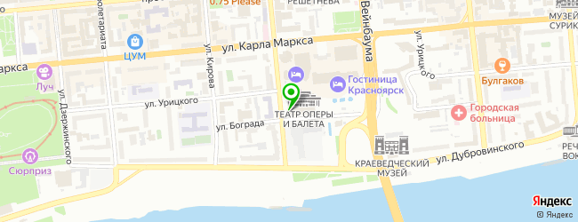 театр оперы и балета на карте Красноярска